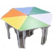 Стол Ромашка малый регулируемый (сегмент) d=1,3м ПЛАСТИК